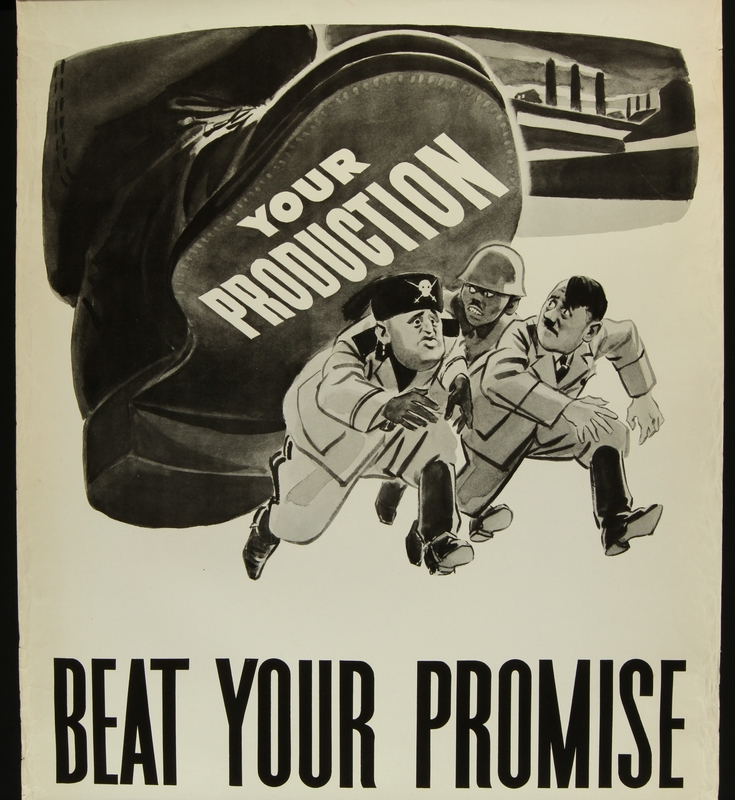2018.370.7 front American World War II poster indicating worker production will help crush the Axis powers