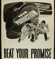 2018.370.7 front American World War II poster indicating worker production will help crush the Axis powers  Click to enlarge