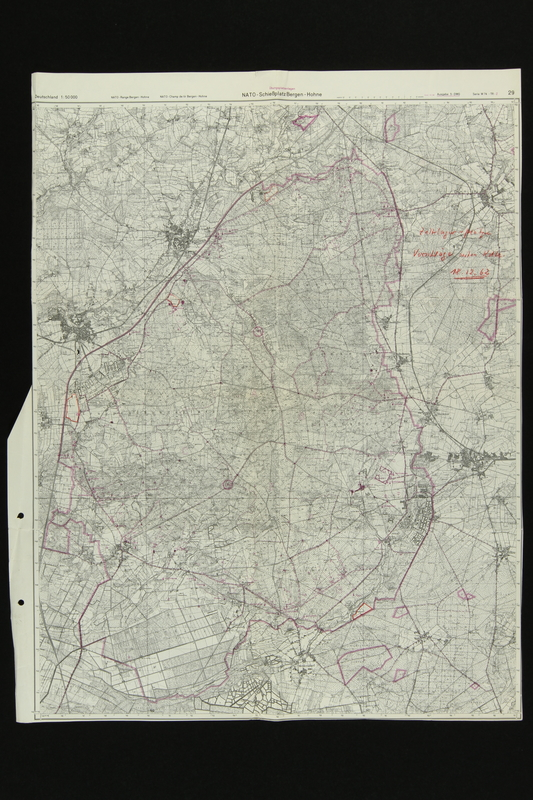 2018.389.1 front Map of Bergen-Hohne NATO training area acquired by an American soldier stationed in Germany during the 1980s