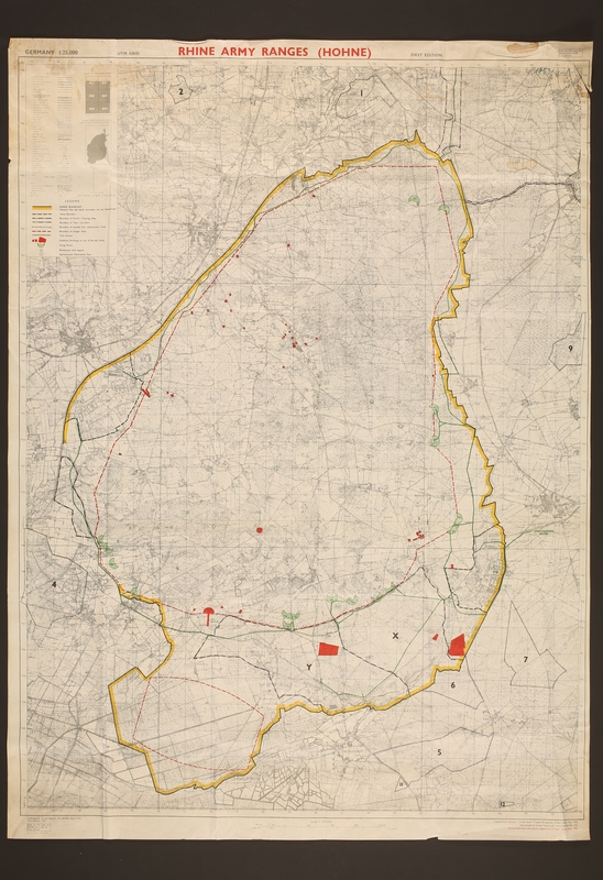 2018.389.2 front Rhine Army Ranges (Hohne) map with overprinting, acquired by an American soldier stationed in Germany during the 1980s