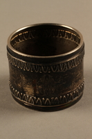 2018.290.2 a side a Monogrammed silver napkin rings owned by a German Rabbi  Click to enlarge