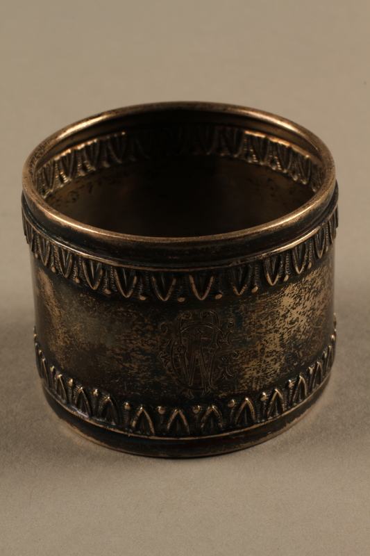 2018.290.2 b side a Monogrammed silver napkin rings owned by a German Rabbi