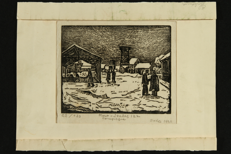 2018.337.2 front Black and white linocut print of the Compiègne internment camp created by Jacques Gotko