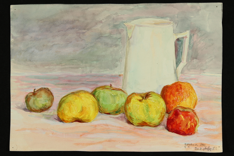 2018.337.3 front Watercolor still life painting created by David Goychman while imprisoned in Compiègne internment camp