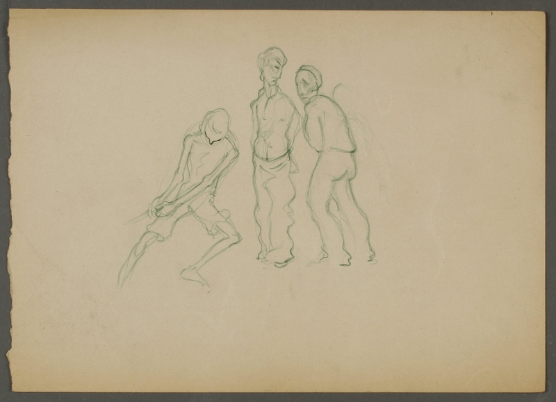 CM_1992.193.74_001 front Drawing by Ervin Abadi created while at Bergen Belsen displaced person's camp