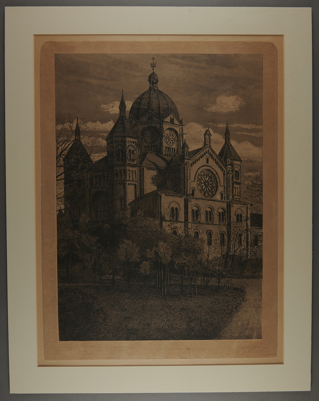 2013.122.2 front Signed etching of a Neu Synagogue, Breslau saved by a Jewish emigre family