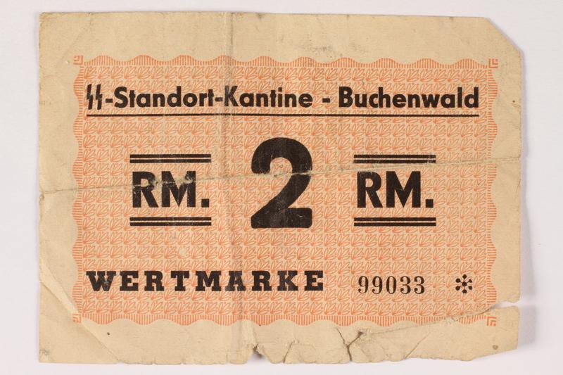 1992.197.3 front Buchenwald Standort-Kantine concentration camp scrip, 2 Reichsmark