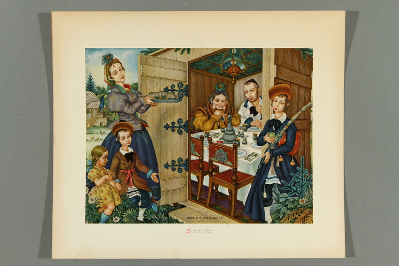 2018.380.2 front Print of an Arthur Szyk painting depicting a family eating a meal for Sukkot