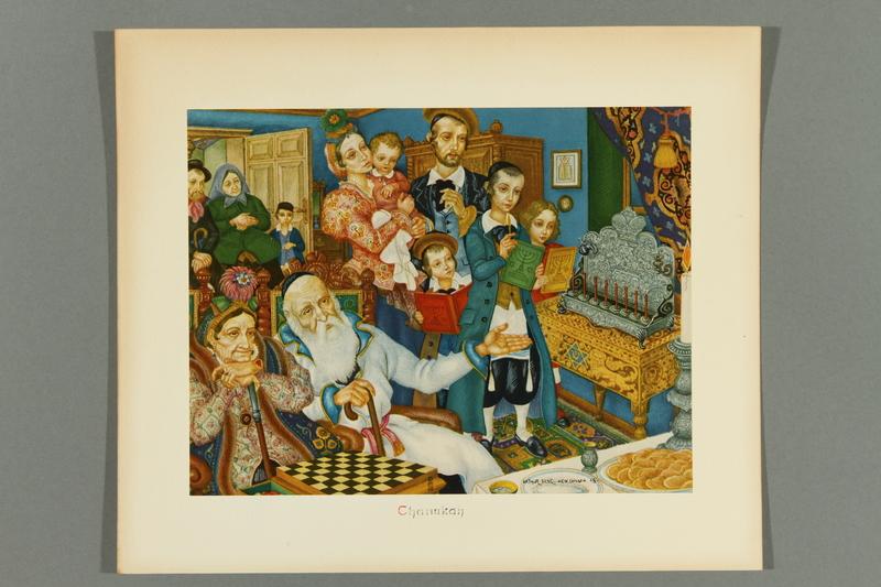 2018.380.3 front Print of an Arthur Szyk painting depicting Hanukkah festivities