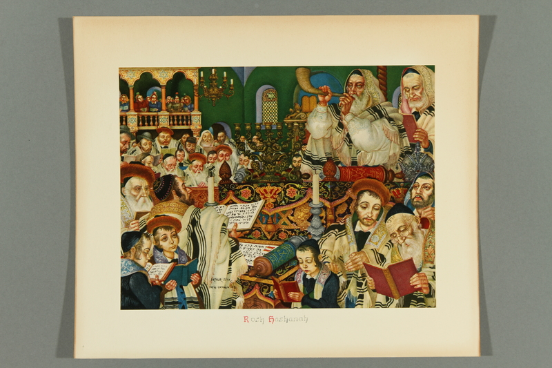 2018.380.4 front Print of an Arthur Szyk painting depicting a congregation worshiping during Rosh Hashanah