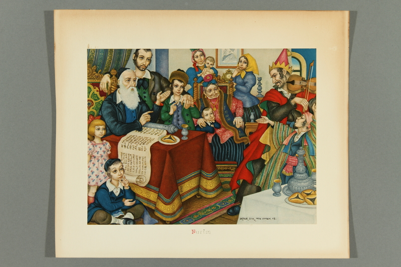 2018.380.5 front Print of an Arthur Szyk painting depicting an extended family celebrating Purim