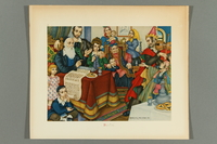 2018.380.5 front Print of an Arthur Szyk painting depicting an extended family celebrating Purim  Click to enlarge