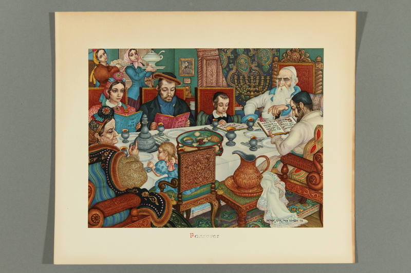 2018.380.6 front Print of an Arthur Szyk painting depicting a family eating diner during Passover