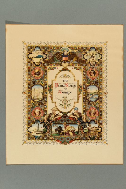 2018.380.7 front Print of an Arthur Szyk painting featuring iconic images of Americana