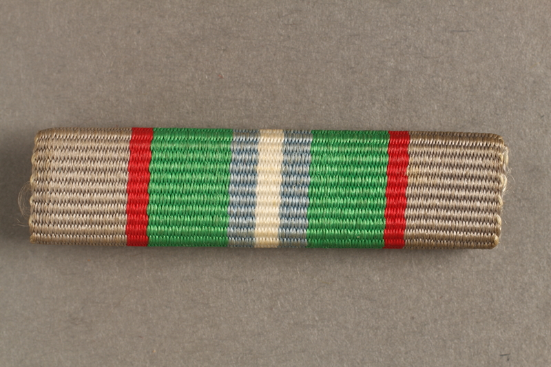 2012.473.14 front Haganah War Ribbon bar awarded to a Belgian Jewish resistance fighter for his postwar support in Palestine