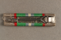 2012.473.14 back Haganah War Ribbon bar awarded to a Belgian Jewish resistance fighter for his postwar support in Palestine  Click to enlarge
