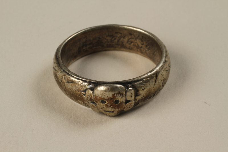 1992.206.1 front SS Totenkopf (Death's head) ring taken from an SS officer by a liberator and later given to a Holocaust survivor