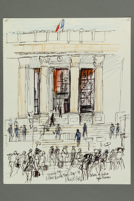 1992.21.1 front Courtroom drawing of the Klaus Barbie trial
