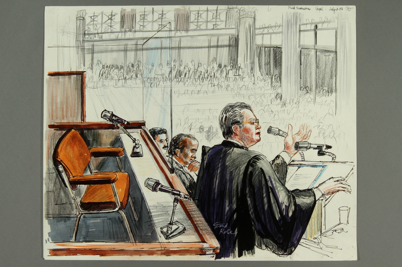 1992.21.10 front Courtroom drawing of the Klaus Barbie trial
