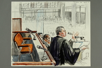 1992.21.10 front Courtroom drawing of the Klaus Barbie trial  Click to enlarge