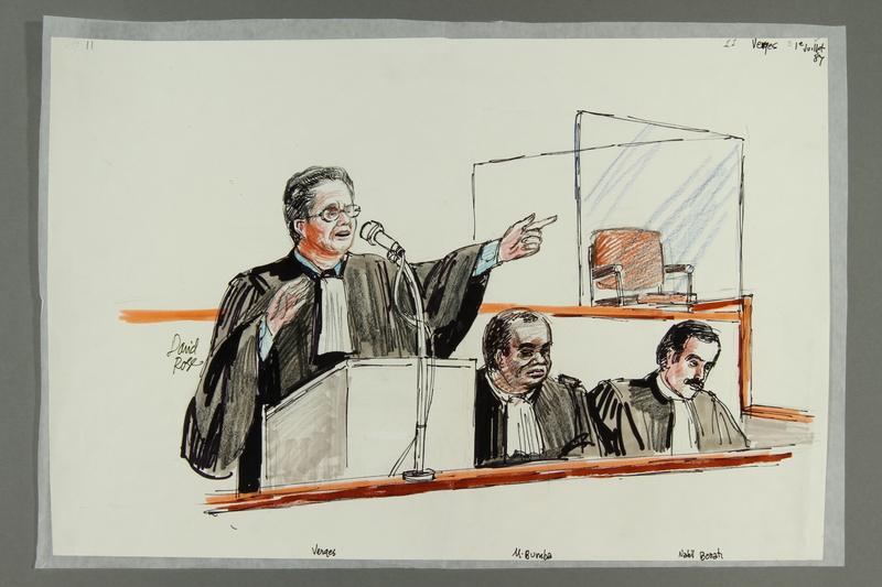 1992.21.11 front Courtroom drawing of the Klaus Barbie trial