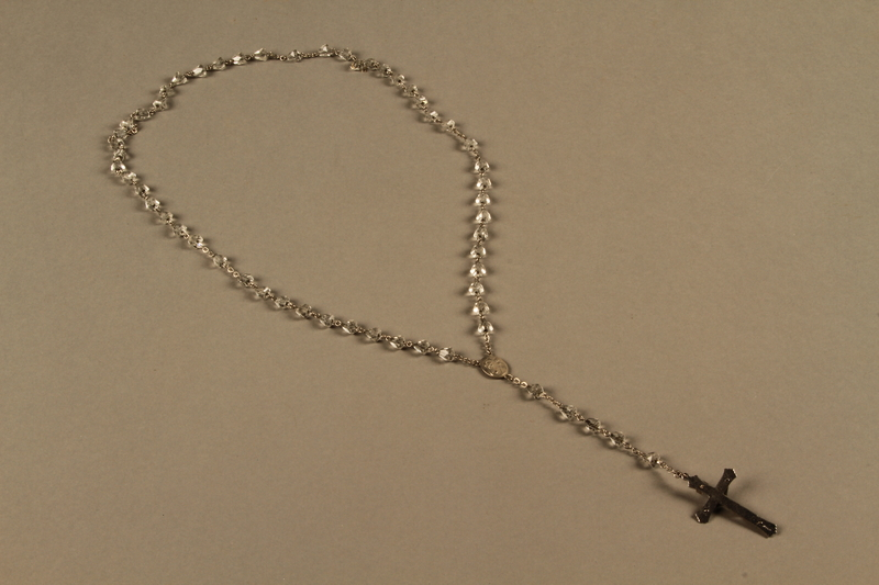 2018.426.6 back Metal and glass rosary used by an American internee