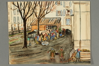 2018.426.17 front Watercolor painting of a line for wood and coal acquired by an American internee  Click to enlarge