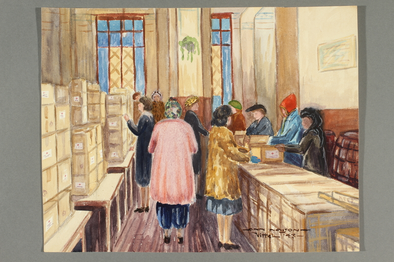 2018.426.21 front Watercolor painting of women collecting Red Cross packages acquired by an American internee