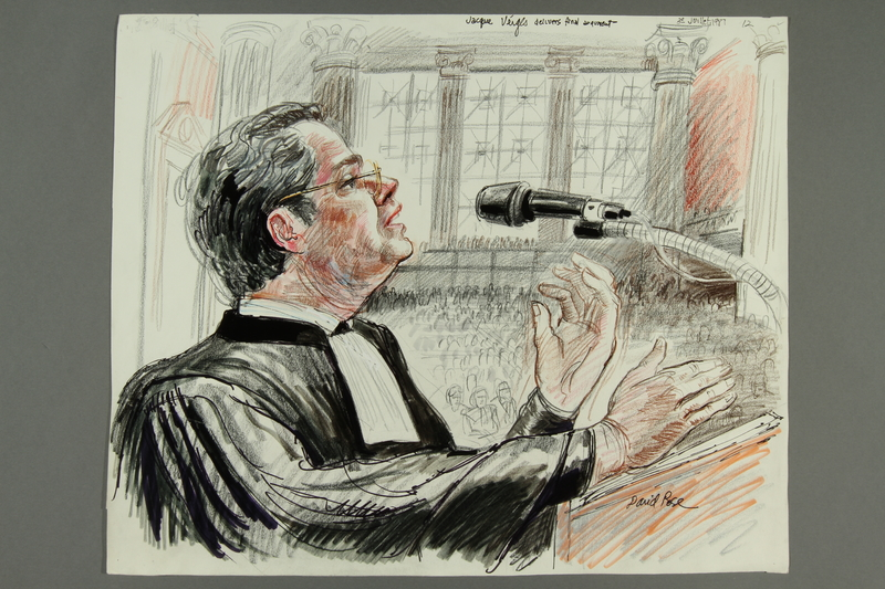 1992.21.12 front Courtroom drawing of the Klaus Barbie trial
