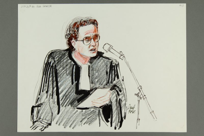 1992.21.13 front Courtroom drawing of the Klaus Barbie trial