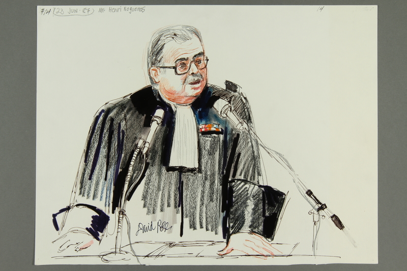 1992.21.14.1-2 front Courtroom drawing of the Klaus Barbie trial