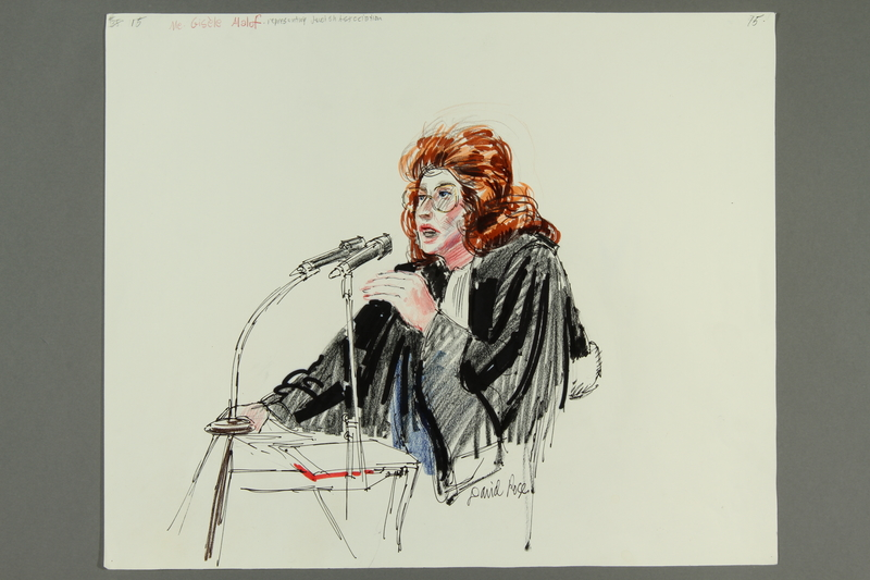 1992.21.15 front Courtroom drawing of the Klaus Barbie trial