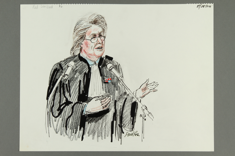 1992.21.16 front Courtroom drawing of the Klaus Barbie trial