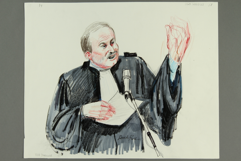 1992.21.17 front Courtroom drawing of the Klaus Barbie trial