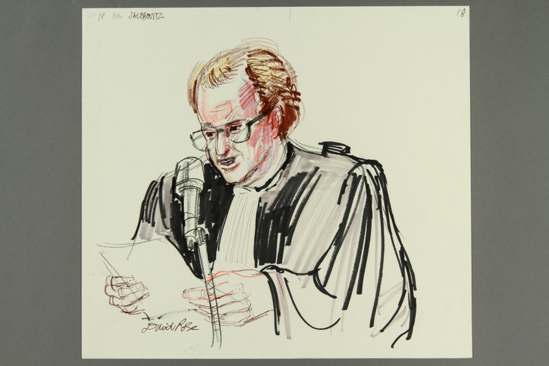 1992.21.18 front Courtroom drawing of the Klaus Barbie trial