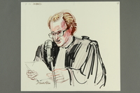 1992.21.18 front Courtroom drawing of the Klaus Barbie trial  Click to enlarge