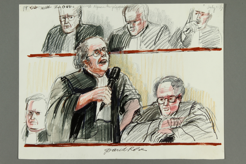 1992.21.19 front Courtroom drawing of the Klaus Barbie trial
