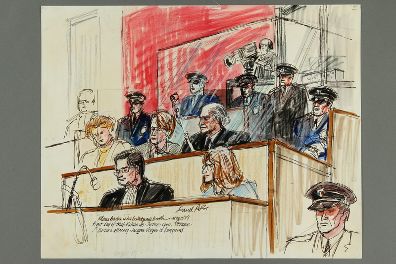 1992.21.2 front Courtroom drawing of the Klaus Barbie trial