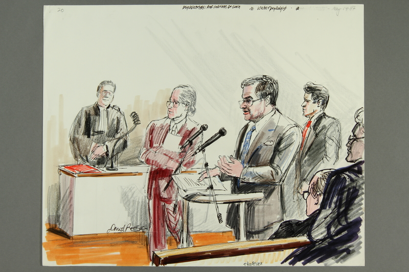 1992.21.20 front Courtroom drawing of the Klaus Barbie trial
