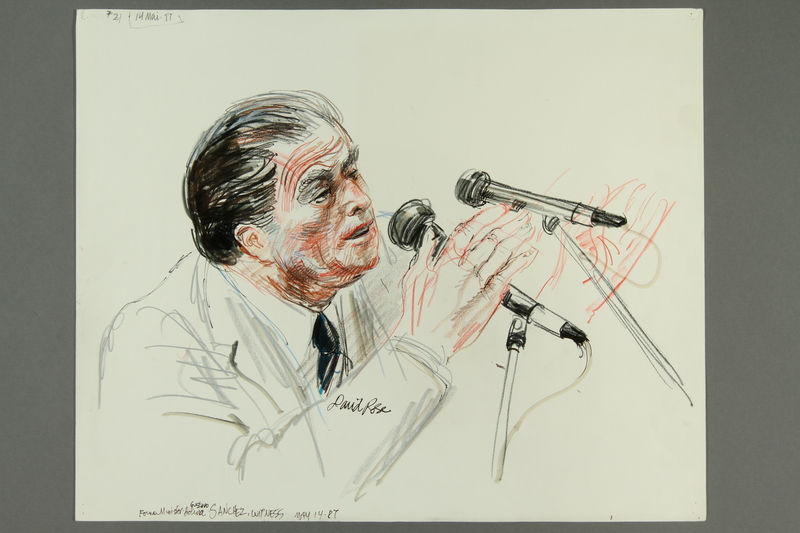 1992.21.21.1-.2 front Courtroom drawing of the Klaus Barbie trial