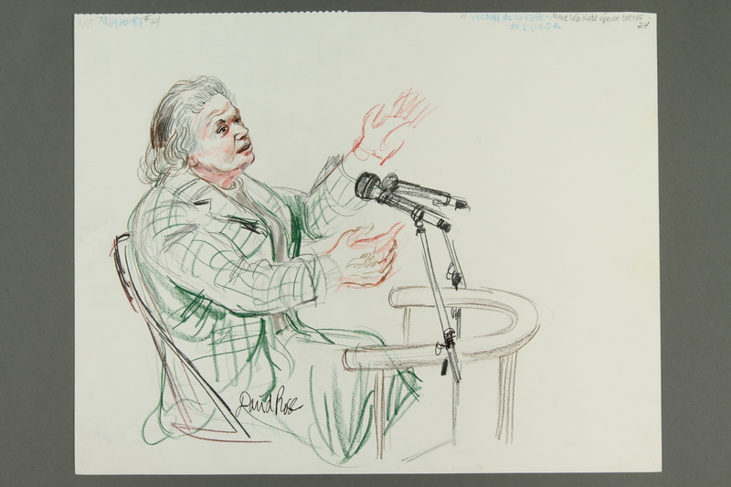 1992.21.23.1-.2 front Courtroom drawing of the Klaus Barbie trial