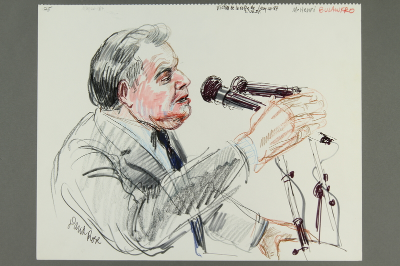 1992.21.24.1-.2 front Courtroom drawing of the Klaus Barbie trial