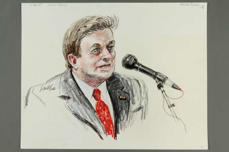1992.21.25.1-.4 front Courtroom drawing of the Klaus Barbie trial