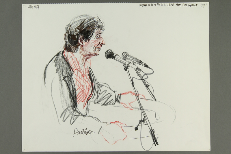 1992.21.26 front Courtroom drawing of the Klaus Barbie trial