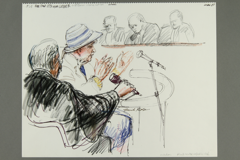 1992.21.27 front Courtroom drawing of the Klaus Barbie trial