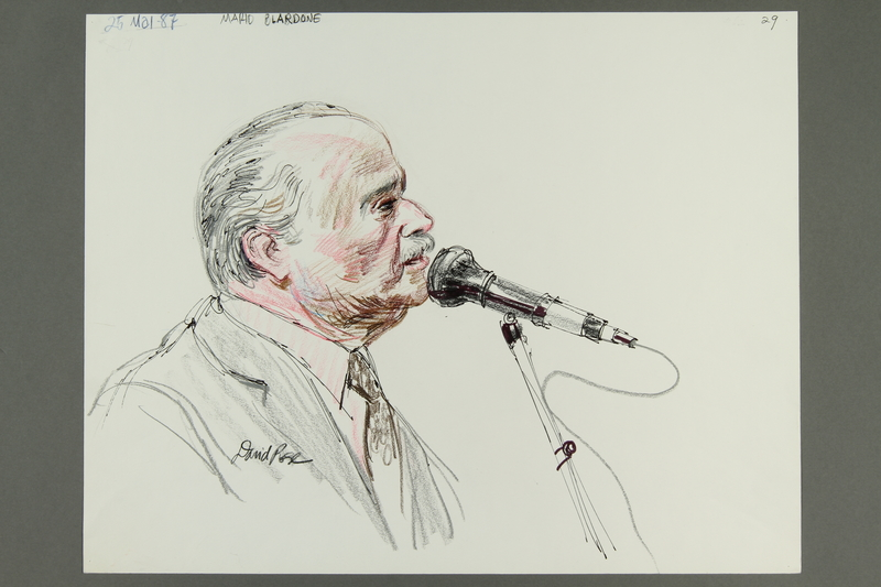 1992.21.28 front Courtroom drawing of the Klaus Barbie trial