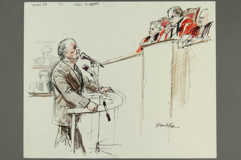 1992.21.29.1-.2 front Courtroom drawing of the Klaus Barbie trial