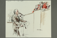 1992.21.29.1-.2 front Courtroom drawing of the Klaus Barbie trial  Click to enlarge