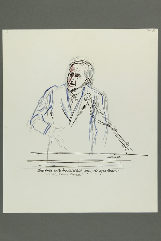 1992.21.3 front Courtroom drawing of the Klaus Barbie trial
