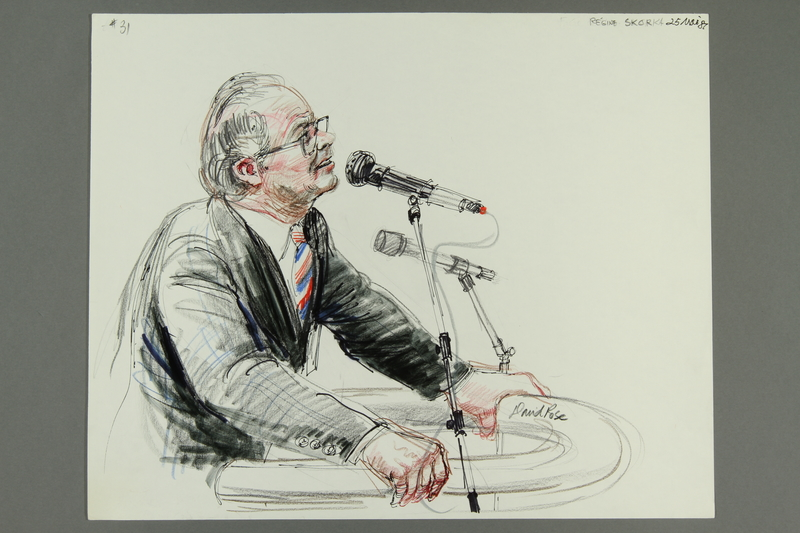 1992.21.30 front Courtroom drawing of the Klaus Barbie trial